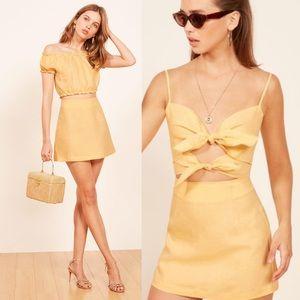 Reformation Kash Yellow Buttercup Mini Skirt Linen